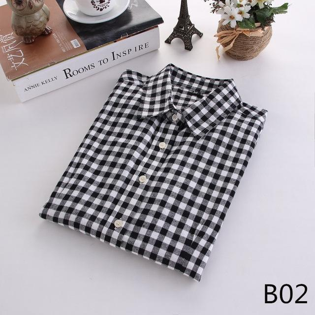Plaid Shirt Female College Style Womens Blouses Long Sleeve Flannel Shirt Plus Size-Blouses & Shirts-FEICHUAN Store-B02-M-EpicWorldStore.com