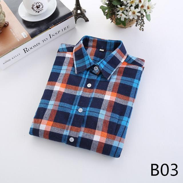 Plaid Shirt Female College Style Womens Blouses Long Sleeve Flannel Shirt Plus Size-Blouses & Shirts-FEICHUAN Store-B03-M-EpicWorldStore.com