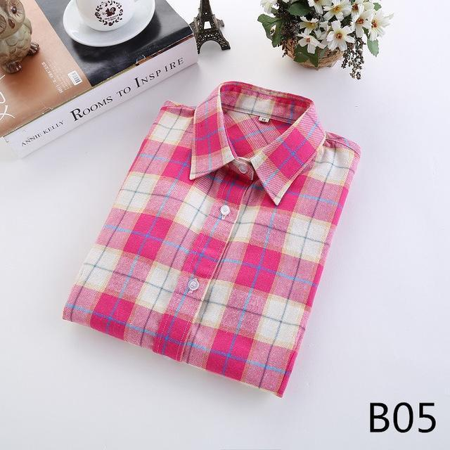 Plaid Shirt Female College Style Womens Blouses Long Sleeve Flannel Shirt Plus Size-Blouses & Shirts-FEICHUAN Store-B05-M-EpicWorldStore.com