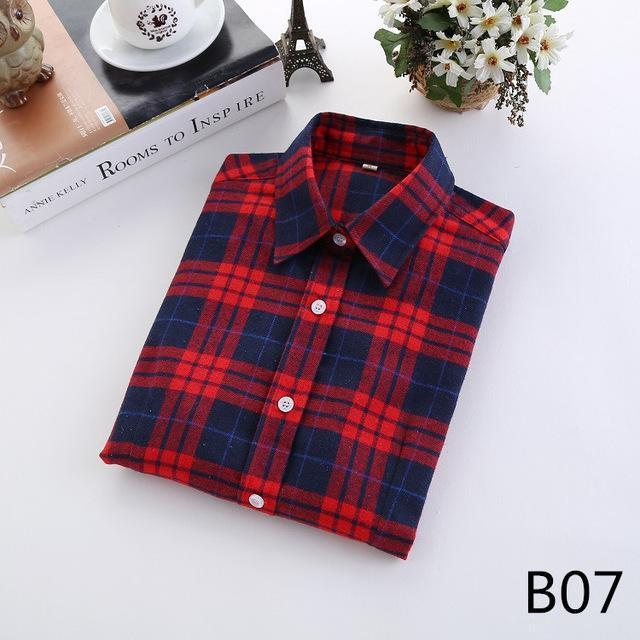 Plaid Shirt Female College Style Womens Blouses Long Sleeve Flannel Shirt Plus Size-Blouses & Shirts-FEICHUAN Store-B07-M-EpicWorldStore.com