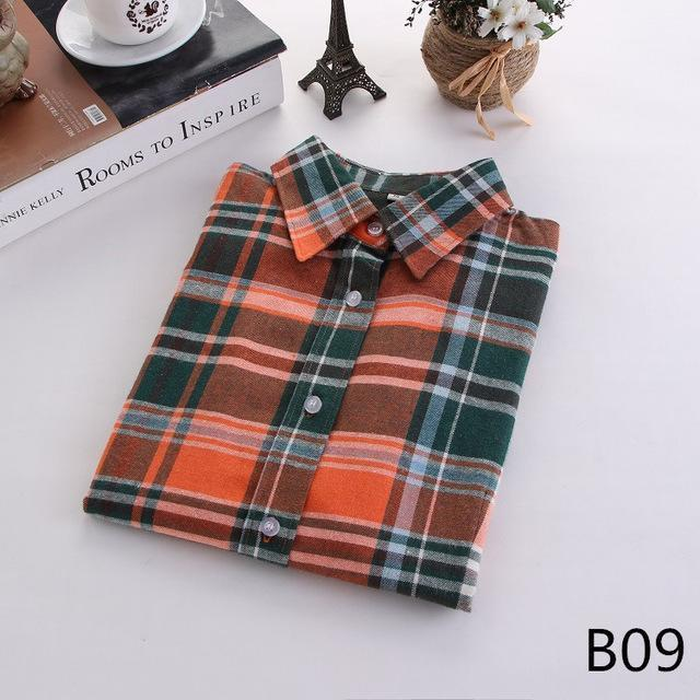 Plaid Shirt Female College Style Womens Blouses Long Sleeve Flannel Shirt Plus Size-Blouses & Shirts-FEICHUAN Store-B09-M-EpicWorldStore.com
