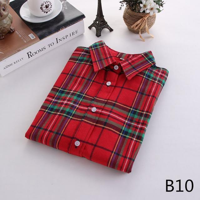 Plaid Shirt Female College Style Womens Blouses Long Sleeve Flannel Shirt Plus Size-Blouses & Shirts-FEICHUAN Store-B10-M-EpicWorldStore.com