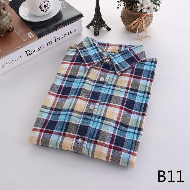 Plaid Shirt Female College Style Womens Blouses Long Sleeve Flannel Shirt Plus Size-Blouses & Shirts-FEICHUAN Store-B11-M-EpicWorldStore.com