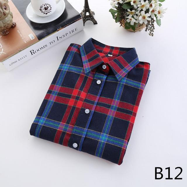 Plaid Shirt Female College Style Womens Blouses Long Sleeve Flannel Shirt Plus Size-Blouses & Shirts-FEICHUAN Store-B12-M-EpicWorldStore.com