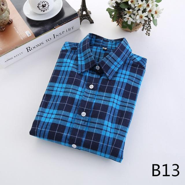 Plaid Shirt Female College Style Womens Blouses Long Sleeve Flannel Shirt Plus Size-Blouses & Shirts-FEICHUAN Store-B13-M-EpicWorldStore.com