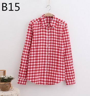 Plaid Shirt Female College Style Womens Blouses Long Sleeve Flannel Shirt Plus Size-Blouses & Shirts-FEICHUAN Store-B15-M-EpicWorldStore.com