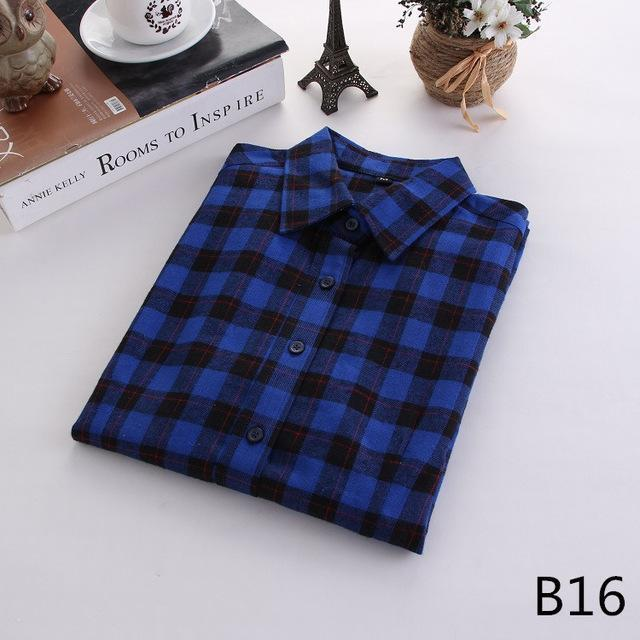 Plaid Shirt Female College Style Womens Blouses Long Sleeve Flannel Shirt Plus Size-Blouses & Shirts-FEICHUAN Store-B16-M-EpicWorldStore.com