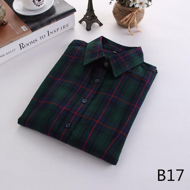 Plaid Shirt Female College Style Womens Blouses Long Sleeve Flannel Shirt Plus Size-Blouses & Shirts-FEICHUAN Store-B17-M-EpicWorldStore.com