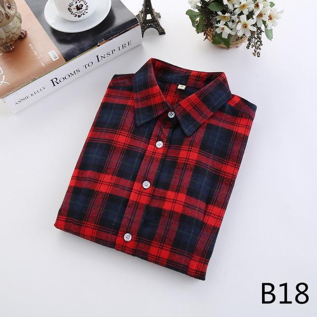 Plaid Shirt Female College Style Womens Blouses Long Sleeve Flannel Shirt Plus Size-Blouses & Shirts-FEICHUAN Store-B18-M-EpicWorldStore.com