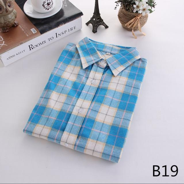 Plaid Shirt Female College Style Womens Blouses Long Sleeve Flannel Shirt Plus Size-Blouses & Shirts-FEICHUAN Store-B19-M-EpicWorldStore.com