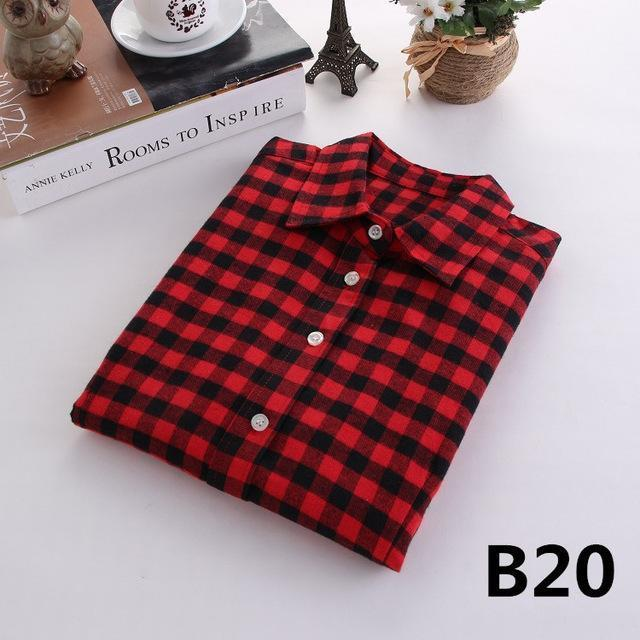 Plaid Shirt Female College Style Womens Blouses Long Sleeve Flannel Shirt Plus Size-Blouses & Shirts-FEICHUAN Store-B20-M-EpicWorldStore.com