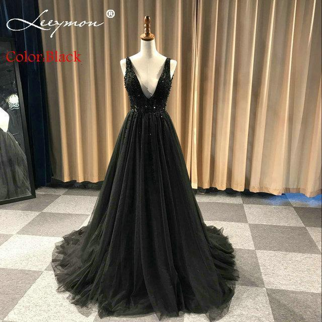 Plus Size High Side Split Green Prom Dress A-Line Tulle Long Party Dress  Beaded Sequined Stylish