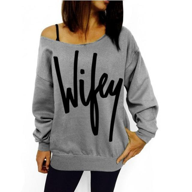 Plus Size Women Sweatshirts Stylish Red Big Lips Printed Off Shoulder Long-Sleeved Pullovers-Hoodies & Sweatshirts-nanfang Store-Gray and letter-S-EpicWorldStore.com