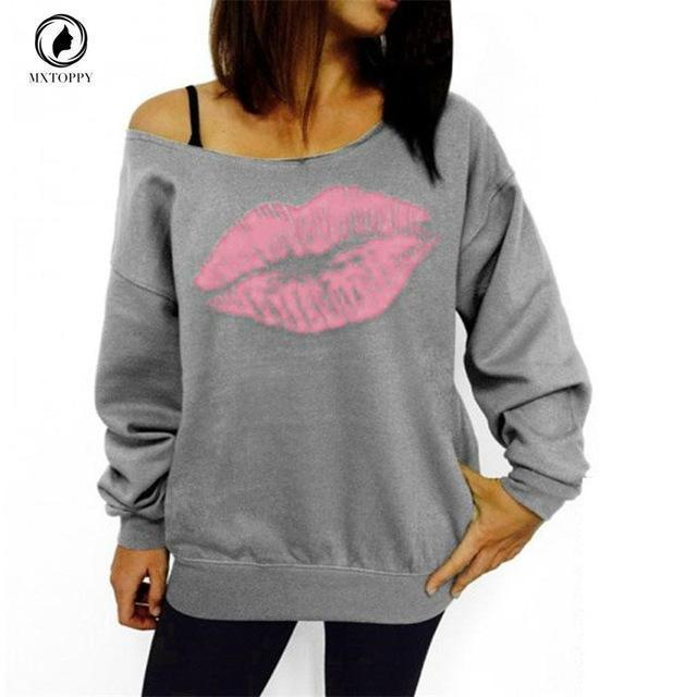 Plus Size Women Sweatshirts Stylish Red Big Lips Printed Off Shoulder Long-Sleeved Pullovers-Hoodies & Sweatshirts-nanfang Store-Gray and pink lips-S-EpicWorldStore.com