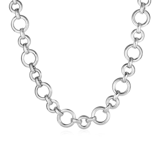"Polished Round Link Necklace In Sterling Silver-Jewelry-EpicWorldStore.com-18""-EpicWorldStore.com"