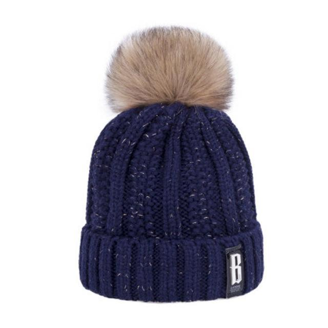 Pom Poms Winter Hat For Women Solid Warm Thick-Accessories-Evrfelan Official Store-Navy Blue-EpicWorldStore.com