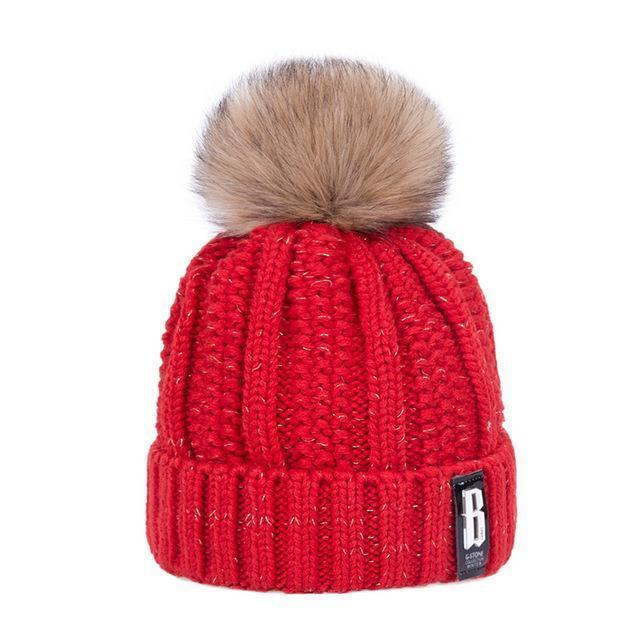 Pom Poms Winter Hat For Women Solid Warm Thick-Accessories-Evrfelan Official Store-Red-EpicWorldStore.com