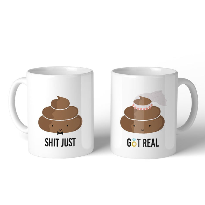Funny Wedding Gifts.Poop Shit Got Real Funny Matching Couple Mugs Unique Wedding Gifts