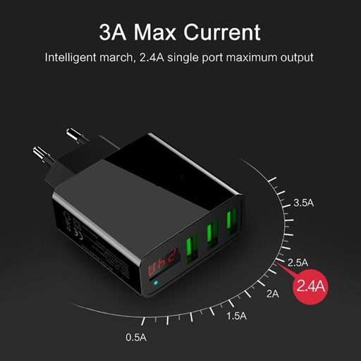 Portable 3 Usb Port Phone Wall Charger Adapter With Led Display Eu/Us Plug Smart Quick Charging-Accessories & Parts-Fashioon-Digital Store-White-US-EpicWorldStore.com