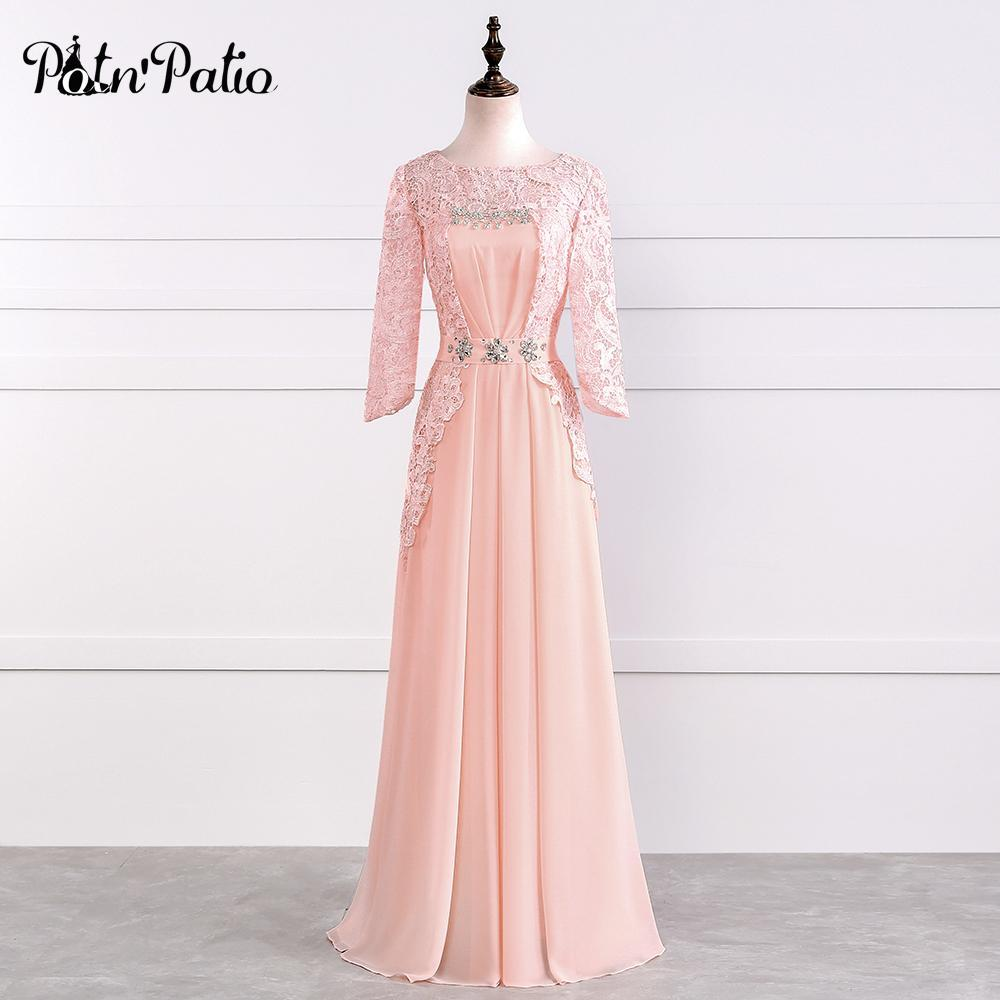 Potn\'Patio O-Neck Lace Sleeve Chiffon Long Mother Of The Bride Dresses Plus  Size