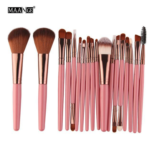 Pro 18 Pcs Makeup Brushes Set Foundation Contour Powder Eye Shadow Eyeliner Lip Blending Brushes-Makeup-Beautys Shop Store-FK-EpicWorldStore.com