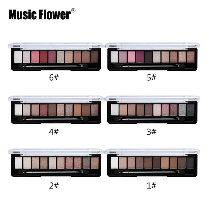 Professional Makeup Brand Earth Color 10 Colors Eyeshadow Palette Glitter Eye Palette Maquiagem-Makeup-Music Flower Franchise Store-01-EpicWorldStore.com