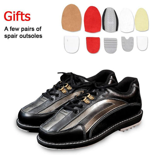 Professional Unisex Bowling Shoes Right & Left Hand Anti-Skid Outsole Sneakers Genuine Leather-Bowling-SportsTalent Store-Black-38-EpicWorldStore.com