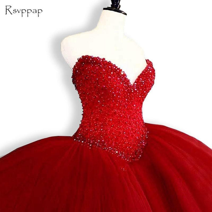 db57cdbe22a8 Puffy Quinceanera Dresses Sweetheart Top Beading Sweet 16 Ball Gowns Red Quinceanera  Dress 15-Quinceanera