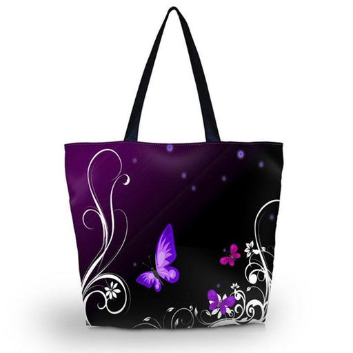 Purple Butterfly Soft Foldable Tote Large Capacity Women Shopping Bag Bag Lady'S Daily Use-Functional Bags-Amei's Bag store-1600-EpicWorldStore.com
