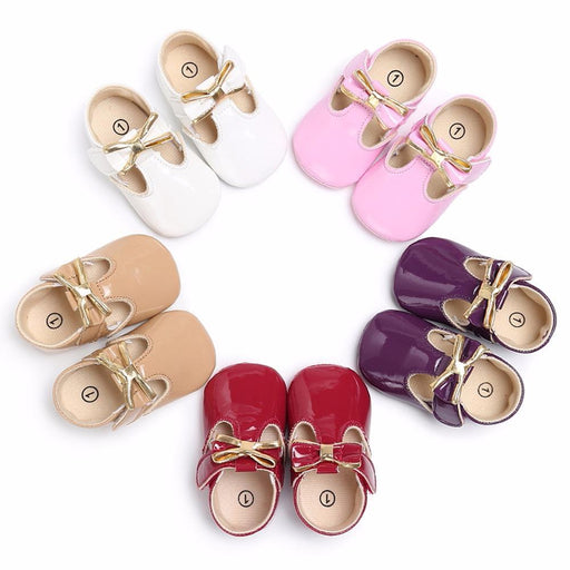 Puseky Sweet Casual Princess Girls Baby Kids Pu Leather Solid Crib Babe Infant Toddler Cute Bow Baby-Baby Shoes-Children's Trend Store-Apricot-0-6 Months-EpicWorldStore.com