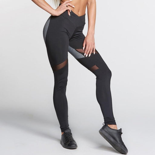 Push Up Heart Booty Sexy Yoga Leggings Women Fitness Mesh Yoga Pants Contrast Color Patchwork Gym-Sports accessories & clothing-Black-S-EpicWorldStore.com