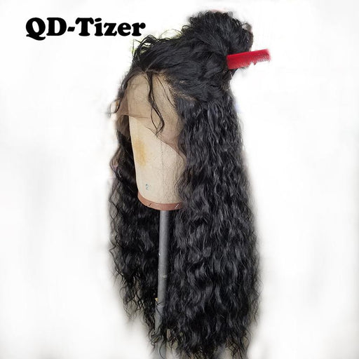 Qd-Tizer 180% Density Black Loose Hair Synthetic Lace Wigs Long Loose Curly Synthetic Lace Front-QD-Tizer Official Store-#1B-18inches-EpicWorldStore.com