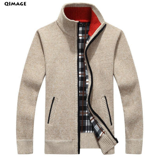 Qimage Mens Sweaters Autumn Winter Warm Cashmere Wool Zipper Pullover Sweaters Man Casual-Sweaters-Q-IMAGE Official Store-Beige-M-EpicWorldStore.com