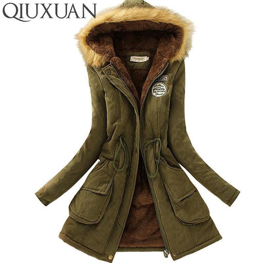 Qiuxuan Women Parka Autumn Winter Warm Jackets Women Fur Collar Coats Long Parkas-Jackets & Coats-QIUXUAN Official Store-Army Green-S-EpicWorldStore.com