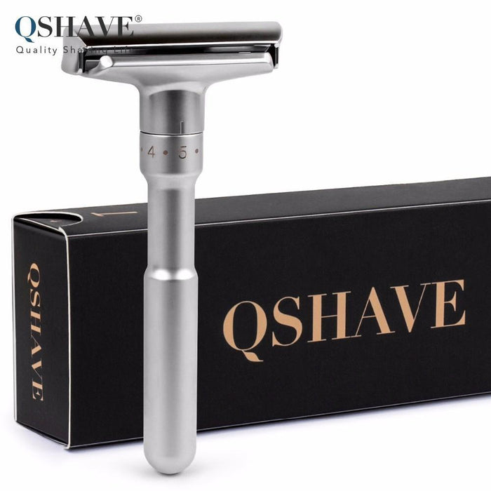 Qshave Adjustable Safety Razor Double Edge Classic Mens Shaving Mild To Aggressive 1-6 Files-Shaving & Hair Removal-QShave Store-Normal Handle-EpicWorldStore.com