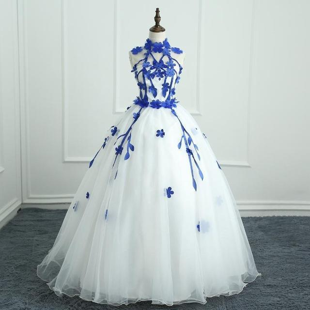 82be7554083 Quinceanera Dresses Engerla Halter Floor-Length Ball Gown Off The Shoulder  Lace Latest Party-