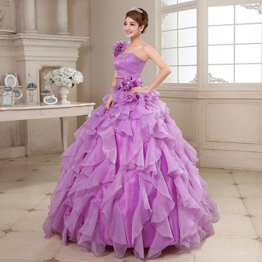 Quinceanera Dresses Sweet Flowers One-Shoulder Crystal Luxury Ball Gown Lace Masquerade Ball-Quinceanera Dresses-Angel Bridal Dress-Blue-2-EpicWorldStore.com