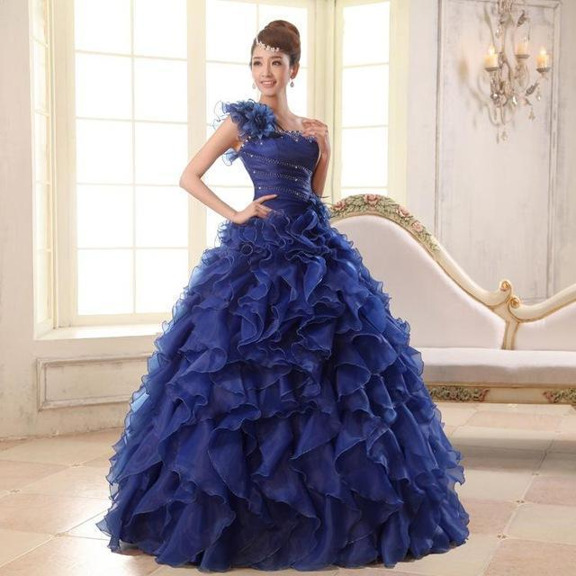 Quinceanera Dresses Sweet Flowers One-Shoulder Crystal Luxury Ball ...