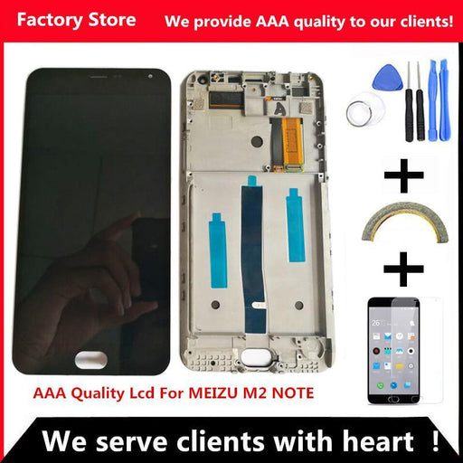 Q&Y Qyjoy Aaa Quality Lcd+Frame For Meizu M2 Note Lcd Display Screen Replacement For Meizu M2 Note-Mobile Phone Parts-Factory Store-With Frame-EpicWorldStore.com