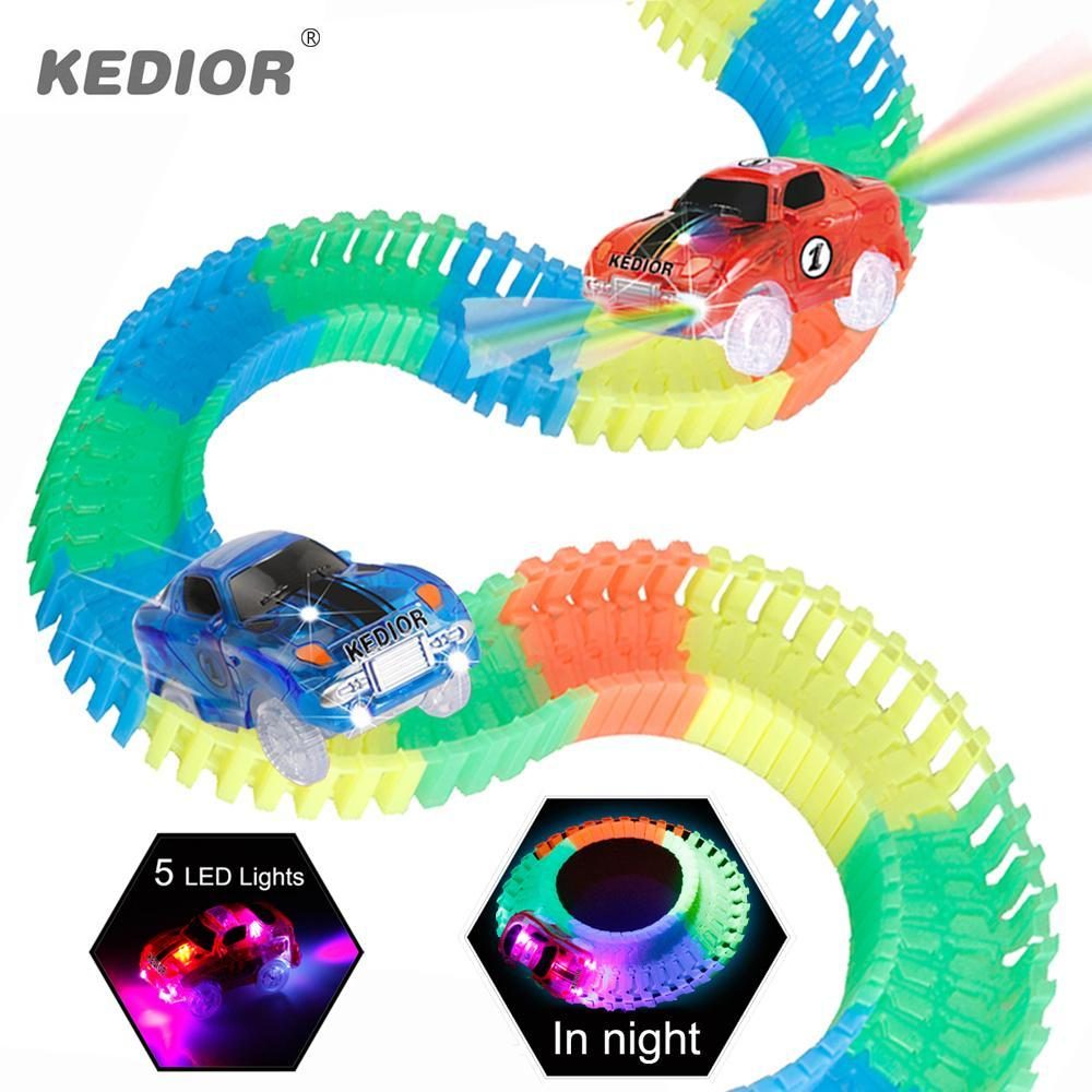 Race Track Car Hot Wheels Glowing Diy Slot Led Battery Electric 1 64 Model Mini Rail Car Toys For