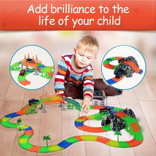 Railway Magical Mini Road Light With Railroad Miracle Flexible Glowing Race Track Childrens Cars-Diecasts & Toy Vehicles-SanJianKe Store-80pcs 1car 4tree-EpicWorldStore.com