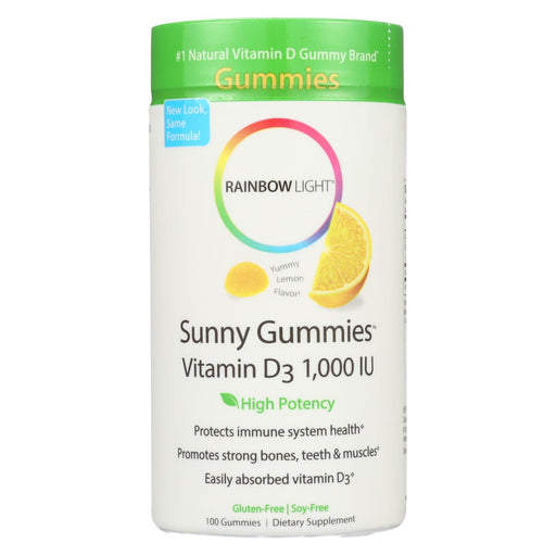 Rainbow Light Vitamin D Sunny Gummies Sour Lemon - 1000 Iu - 100 Gummies-Eco-Friendly Home & Grocery-Rainbow Light-EpicWorldStore.com
