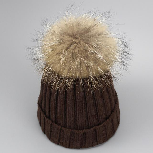 Real Fur Winter Hat Raccoon Pom Pom Hat For Women Brand Thick Women Hat Girls Caps Knitted Beanies-Accessories-MAKEFGE Store-coffee-EpicWorldStore.com