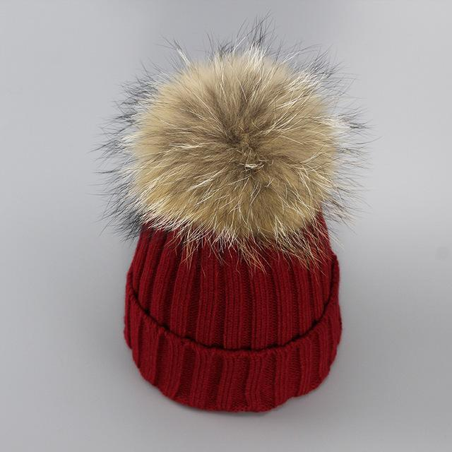 Real Fur Winter Hat Raccoon Pom Pom Hat For Women Brand Thick Women Hat Girls Caps Knitted Beanies-Accessories-MAKEFGE Store-Dark red-EpicWorldStore.com