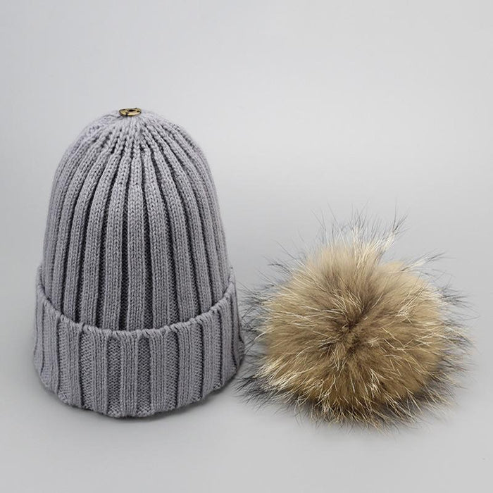 Real Fur Winter Hat Raccoon Pom Pom Hat For Women Brand Thick Women Hat Girls Caps Knitted Beanies-Accessories-MAKEFGE Store-gray-EpicWorldStore.com
