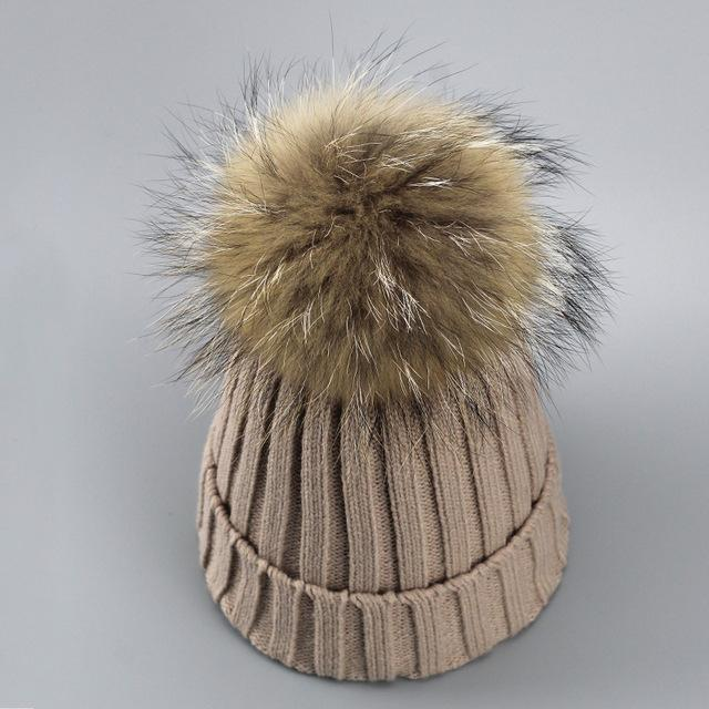 Real Fur Winter Hat Raccoon Pom Pom Hat For Women Brand Thick Women Hat Girls Caps Knitted Beanies-Accessories-MAKEFGE Store-Khaki-EpicWorldStore.com
