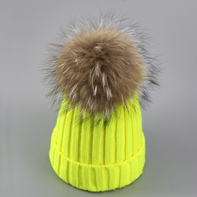 Real Fur Winter Hat Raccoon Pom Pom Hat For Women Brand Thick Women Hat Girls Caps Knitted Beanies-Accessories-MAKEFGE Store-Light yellow-EpicWorldStore.com