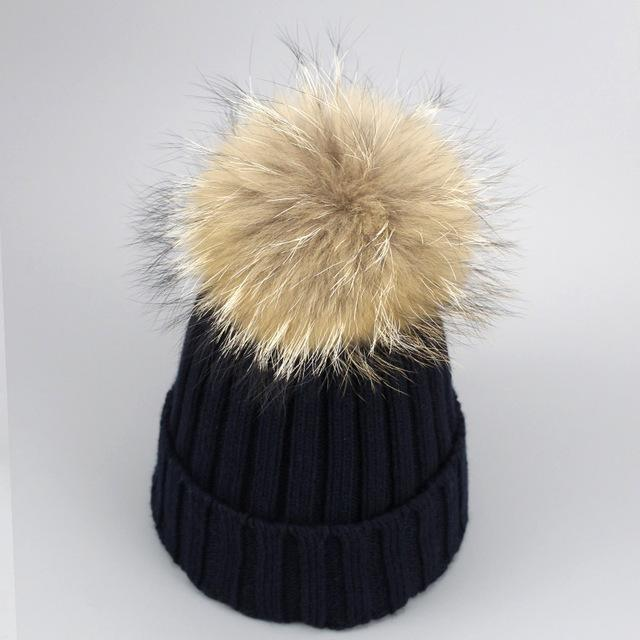 Real Fur Winter Hat Raccoon Pom Pom Hat For Women Brand Thick Women Hat Girls Caps Knitted Beanies-Accessories-MAKEFGE Store-navy-EpicWorldStore.com