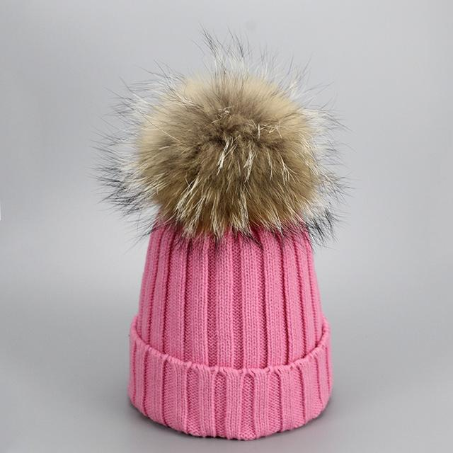Real Fur Winter Hat Raccoon Pom Pom Hat For Women Brand Thick Women Hat Girls Caps Knitted Beanies-Accessories-MAKEFGE Store-Pink-EpicWorldStore.com