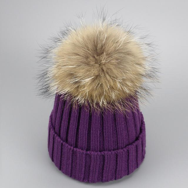 Real Fur Winter Hat Raccoon Pom Pom Hat For Women Brand Thick Women Hat Girls Caps Knitted Beanies-Accessories-MAKEFGE Store-purple-EpicWorldStore.com